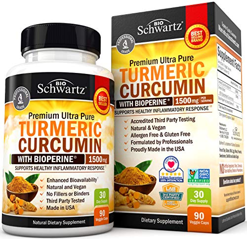 Turmeric Curcumin with BioPerine 1500mg – Natural Joint & Healthy Inflammatory Support with 95% Standardized Curcuminoids for Potency & Absorption – Non-GMO, Gluten Free Capsules with Black Pepper.