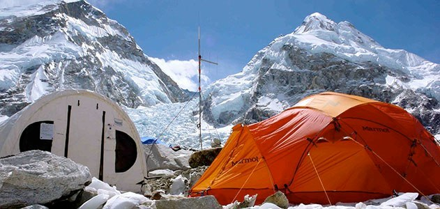Tents on a Snowy Mountain