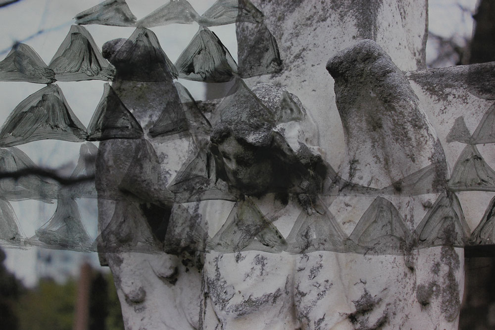 Angel and Triangles, Acrylic on inkjet print, 21 x 29 cm, 2016