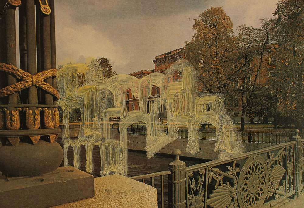 Capri/The Engineers' (Mikhailovsky) Castle, Leningrad from the Postcard Series, Oil on inkjet print, 14.5 x 16.5 cm, 2016