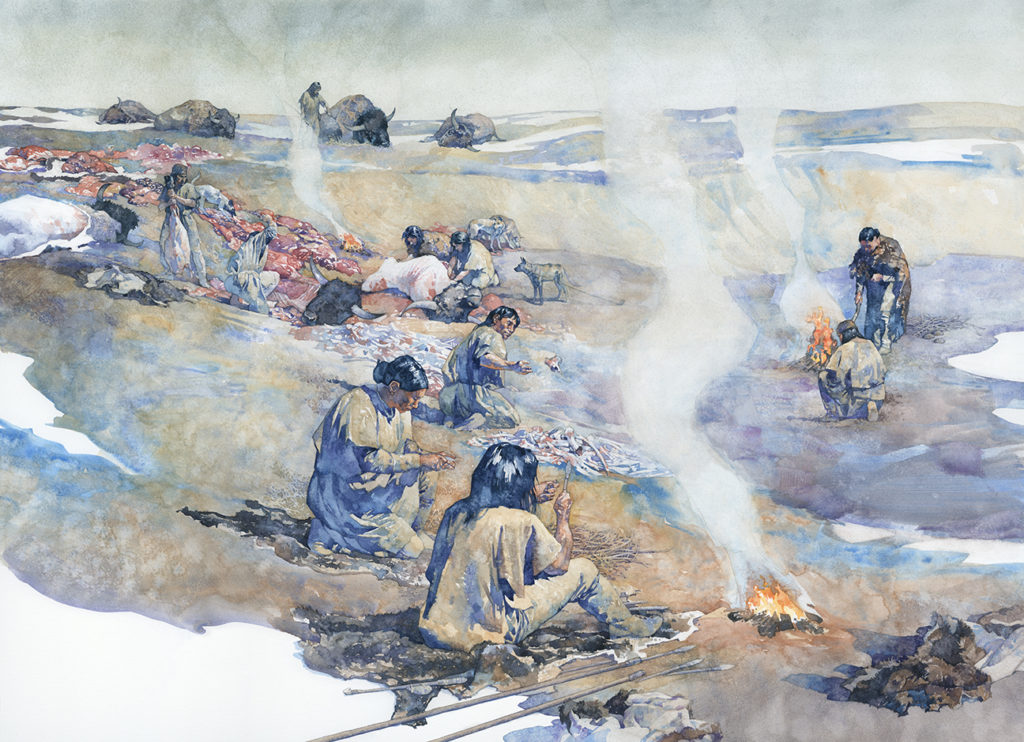 Artists reconstructions of the Beacon Island bison kill based on the archaeological data. Art by Greg Harlin.