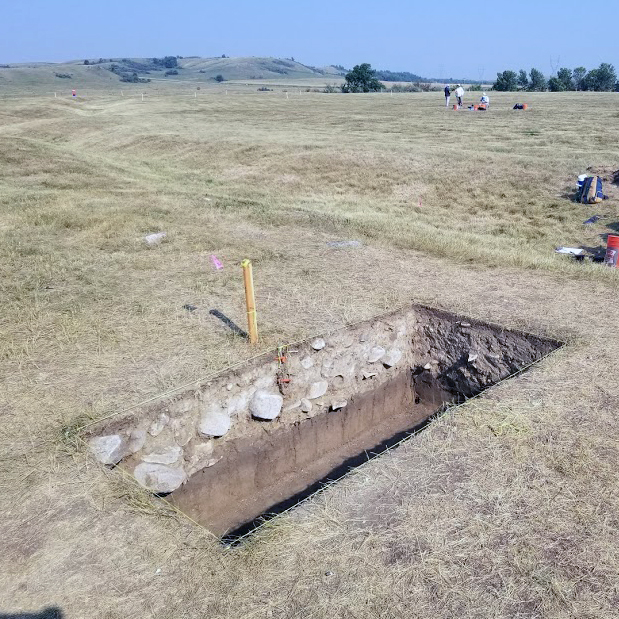Excavation out of the ditch, showing the spoil from ditch construction. Courtesy of Amy Gillaspie.