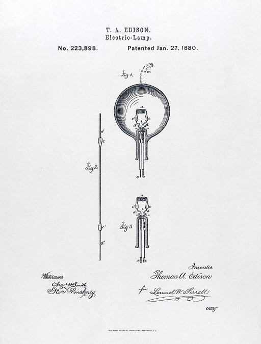 Drawing excerpted from Thomas Edison's light bulb patent application