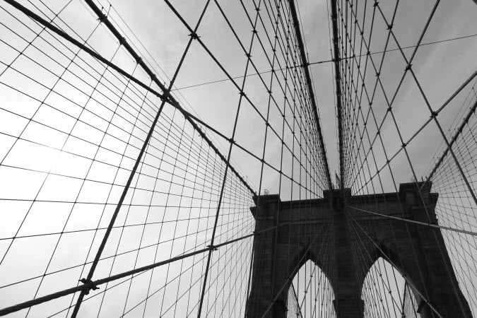 Intricate cables of the Brooklyn Bridge