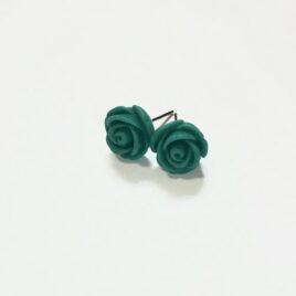 Teal Rose Earrings