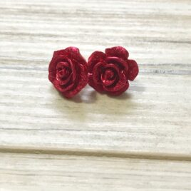 sparkly red rose earrings, resin flower, christmas flower earrings, holiday party wear