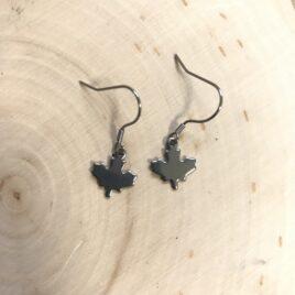 stainless steel maple leaf earrings