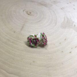 Pink/Green Tie Dye Rose Earrings