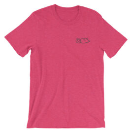 Embroidered tee in Heather Raspberry