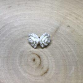 Small White Rose Earrings