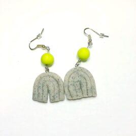 Polymer Clay Earrings – Granite/Wasabi