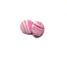 Polymer Clay Earrings – Pink Marbled Studs