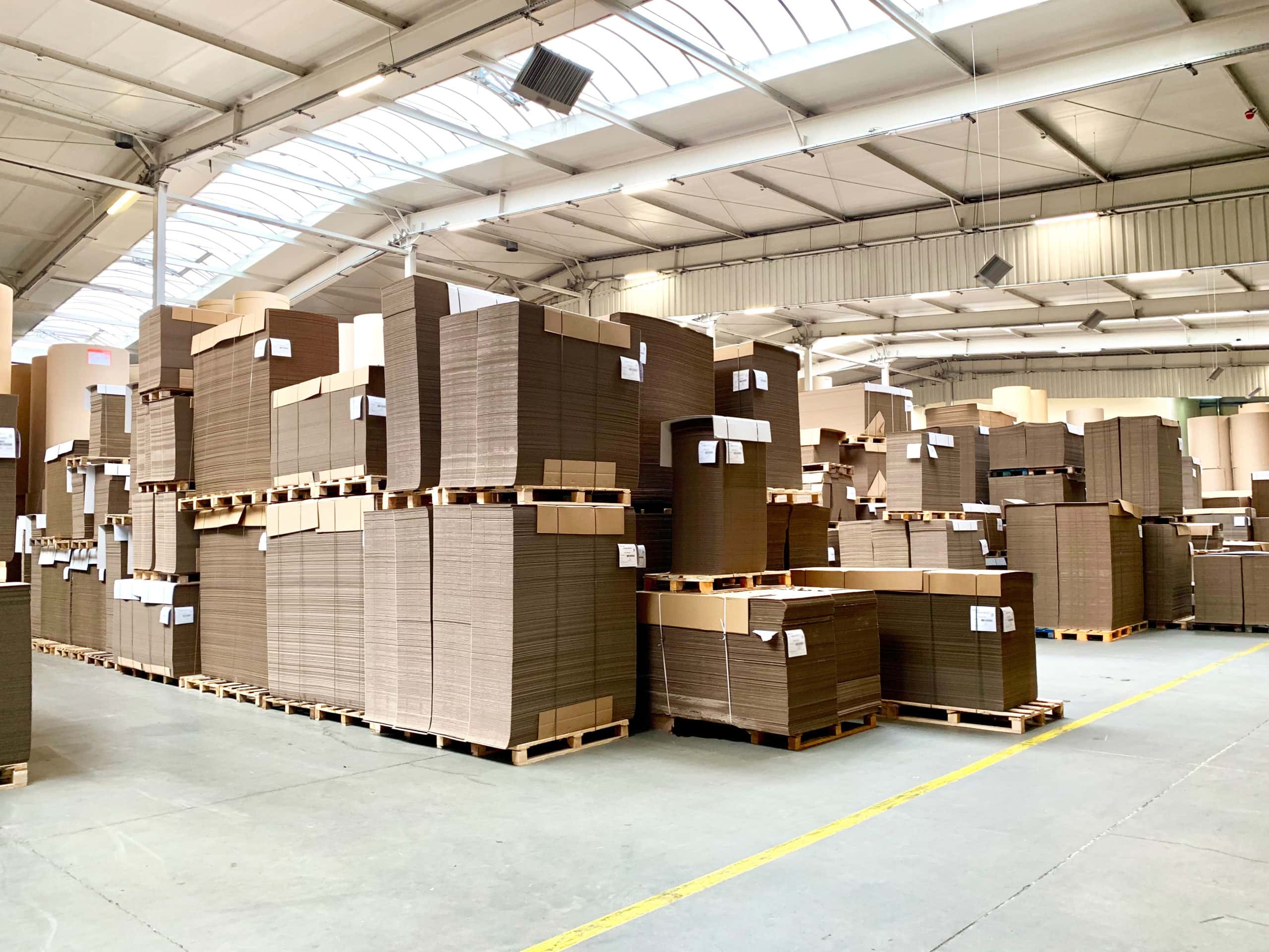 Corrugated cardboard pallets in the generic warehouse