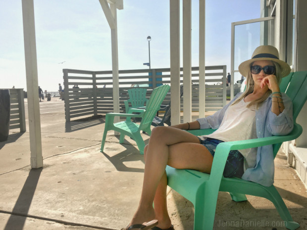 Beach style: cutoffs, panama hat and a comfy button up