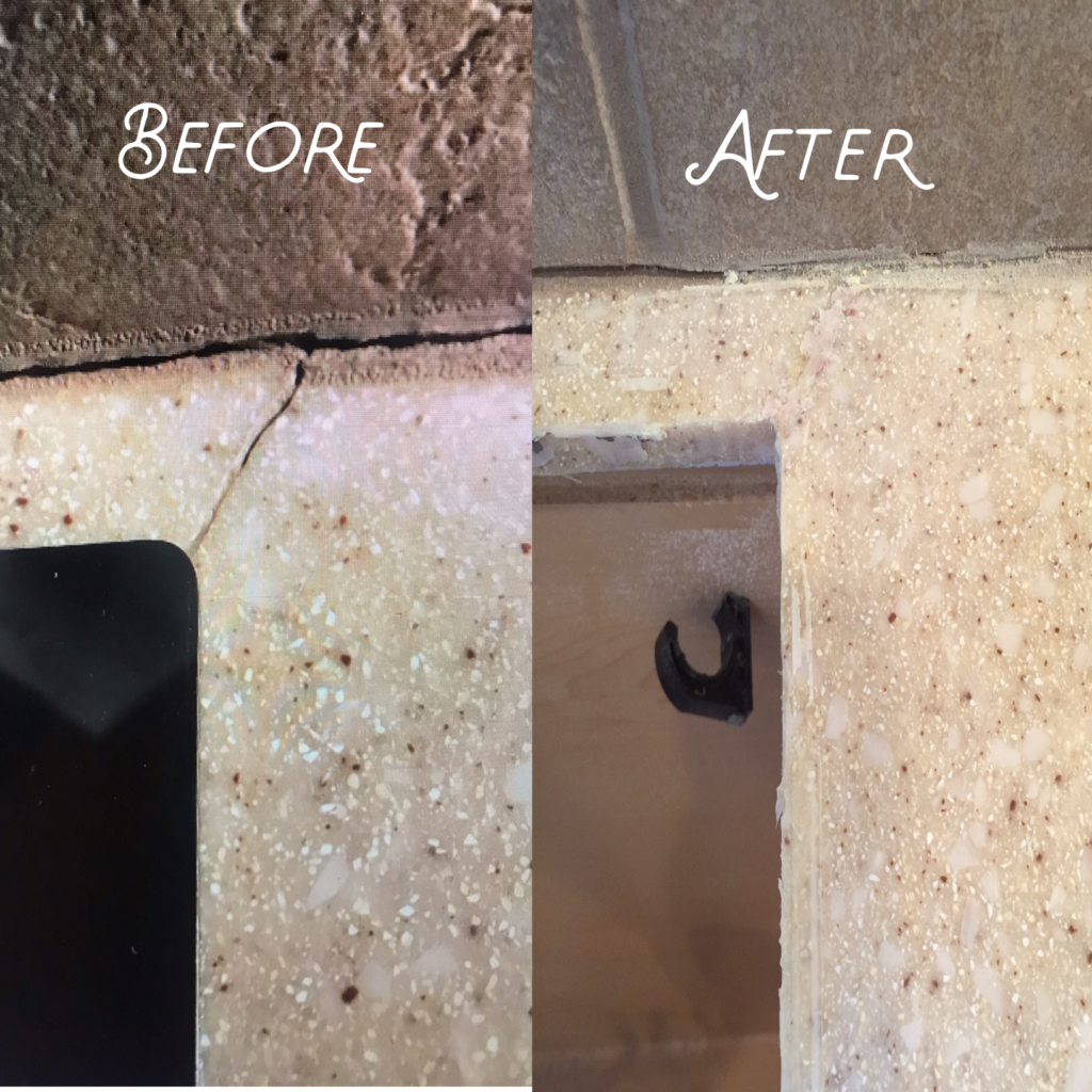 Crack in solid surface countertop restored to brand-new quality