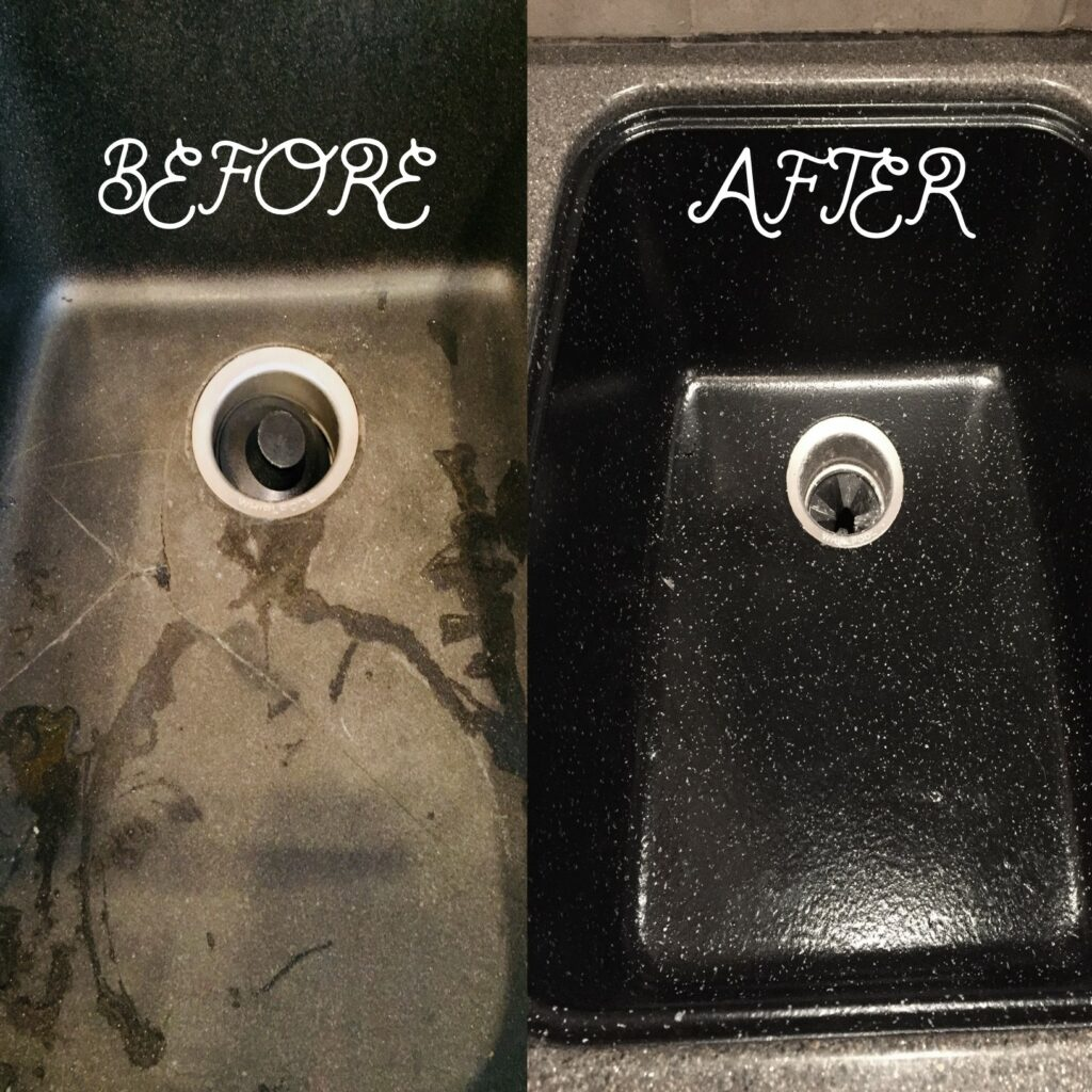 Cracked kitchen sink repaired and resurfaced