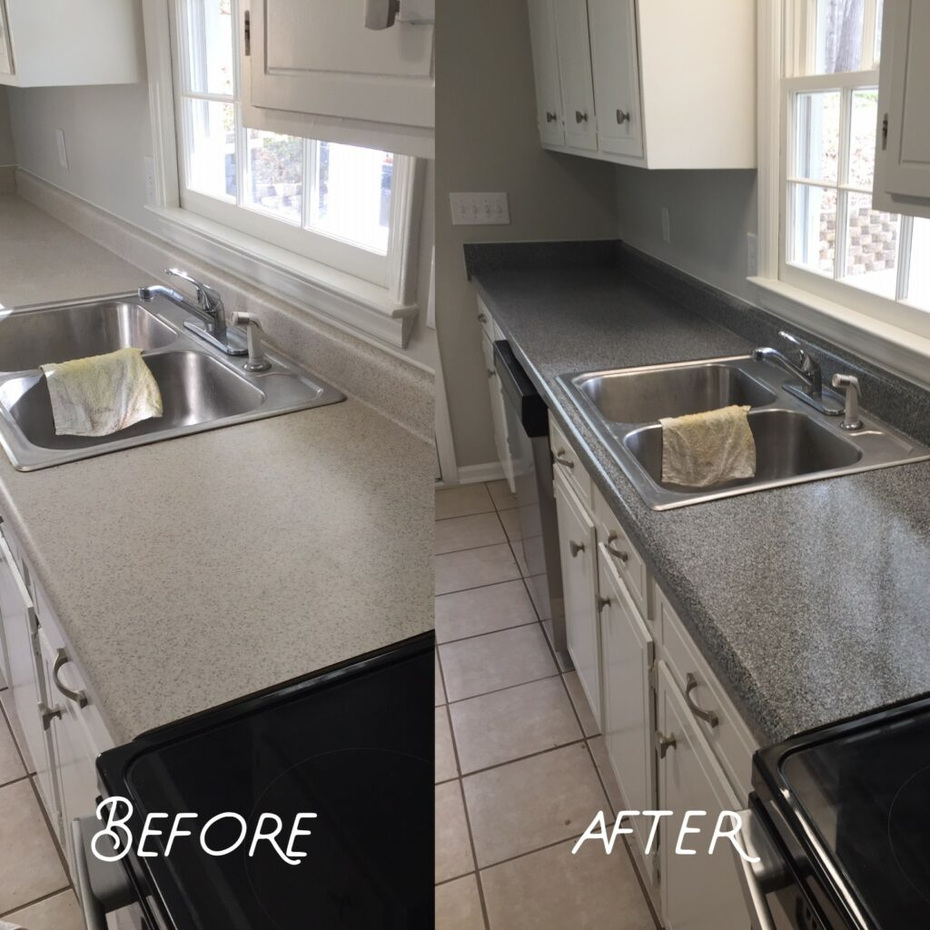 Dull laminate countertop refinished in Galena Gray