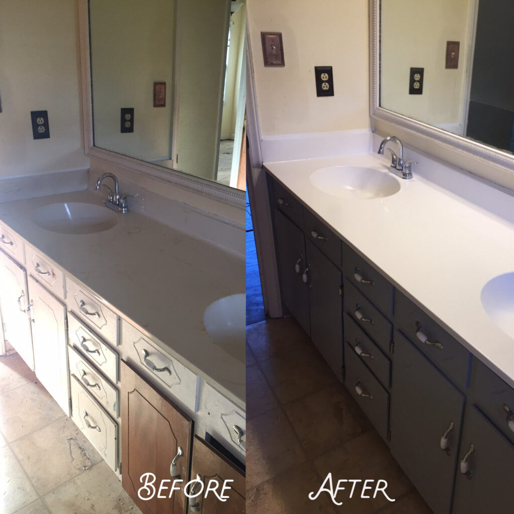 Old  cabinetry resprayed to fresh look
