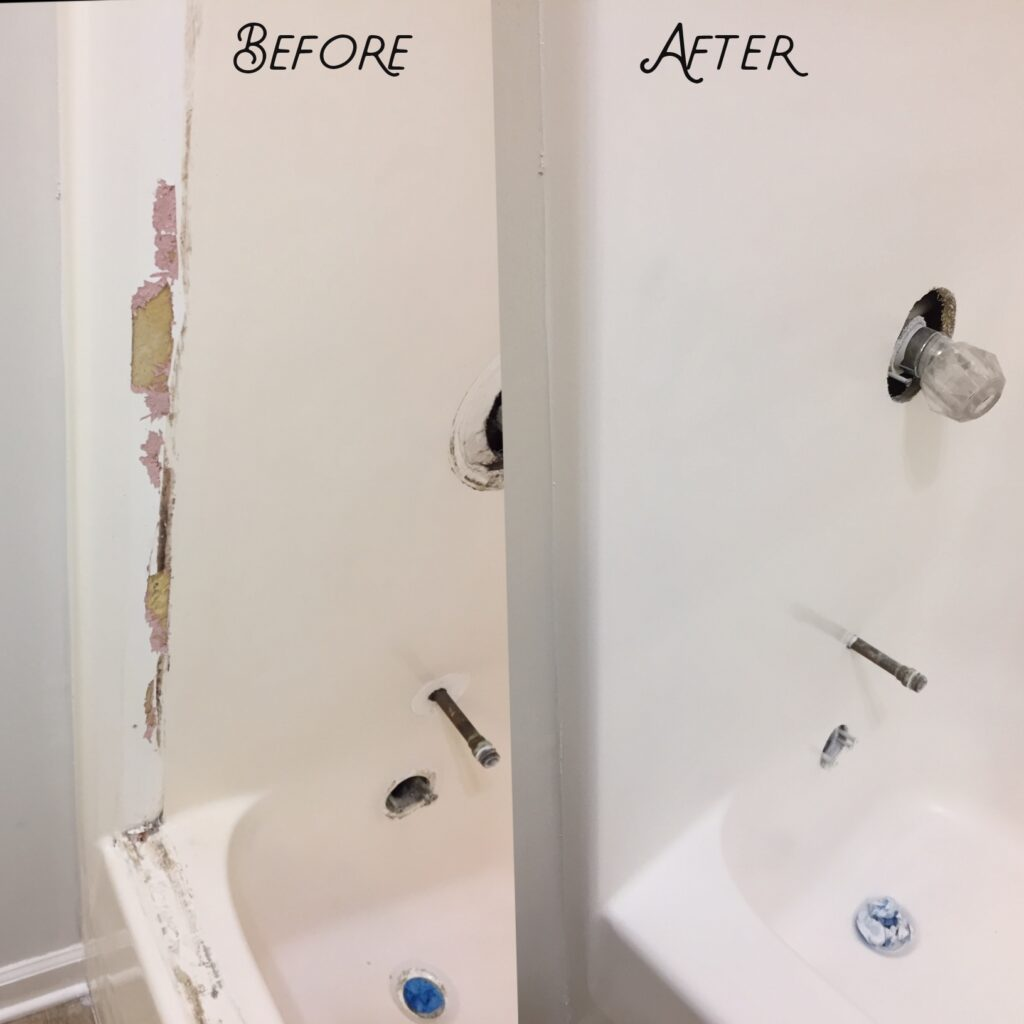 Damaged shower wall repaired to brand new