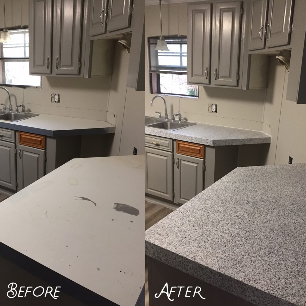 Countertop repaired to a smooth surface