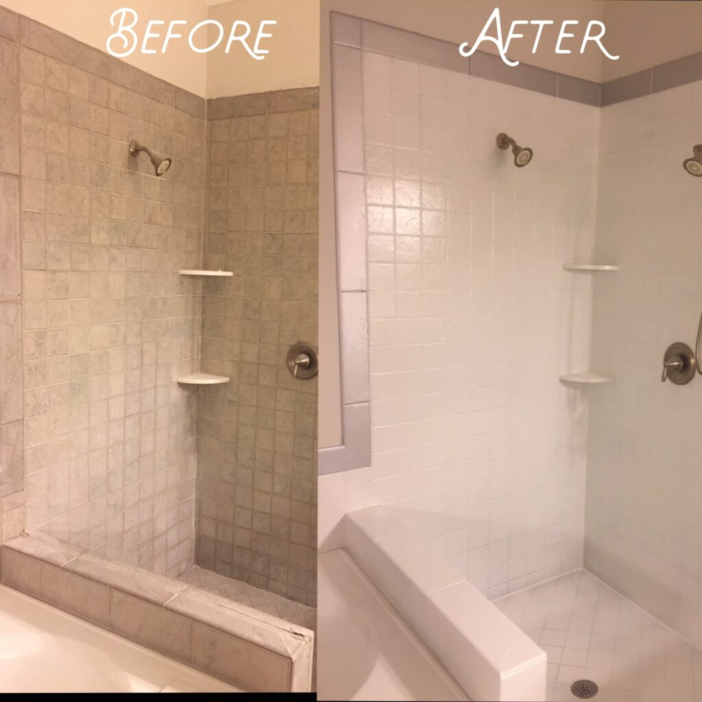 Old shower refinished in white with a silver border