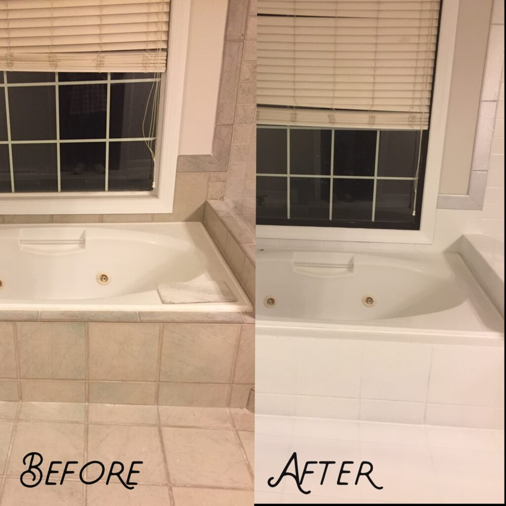 Beige tiling refinished to clean white look