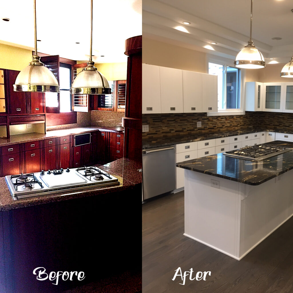 and complete kitchen refinished in pure white