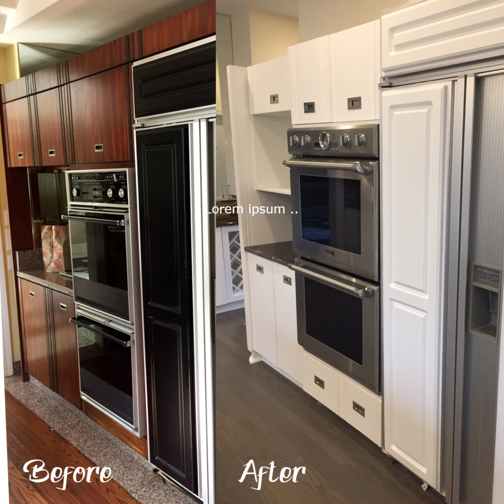 Kitchen back wall was redesigned, new cabinets built....