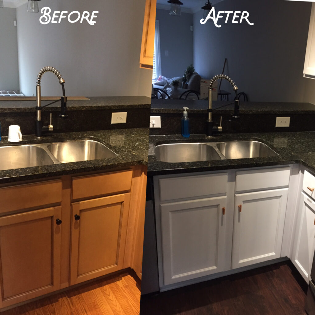 Traditional maple cabinets were refinished to a bright white