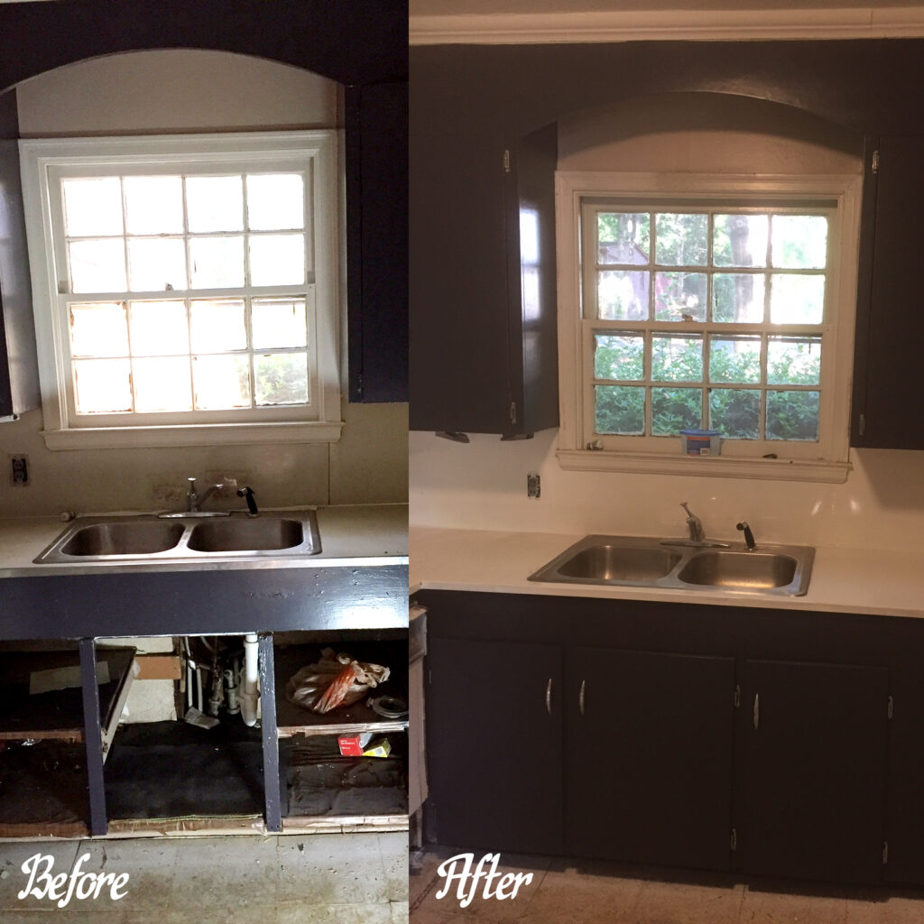 This rental was in really poor shape - New Life Resurfacing resurfaced the countertop, backsplash, supplied and installed new doors where missing, stripped down all existing doors, and refinished in a dark green as chosen by Customer. Bright Chrome stainless steel handles added the cherry to the top!