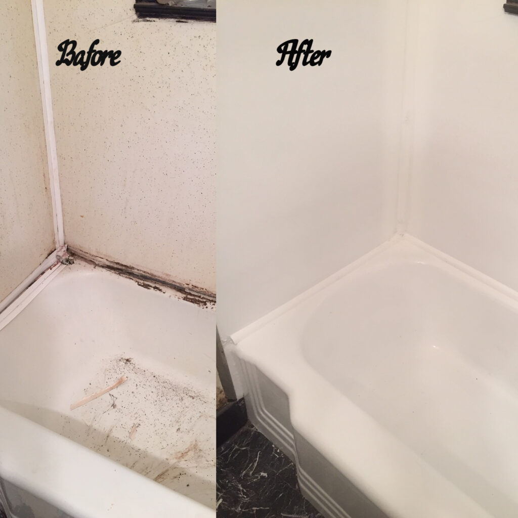 This old original tub and surround were in a terrible state - structural support was added which was then followed by a full resurface.
