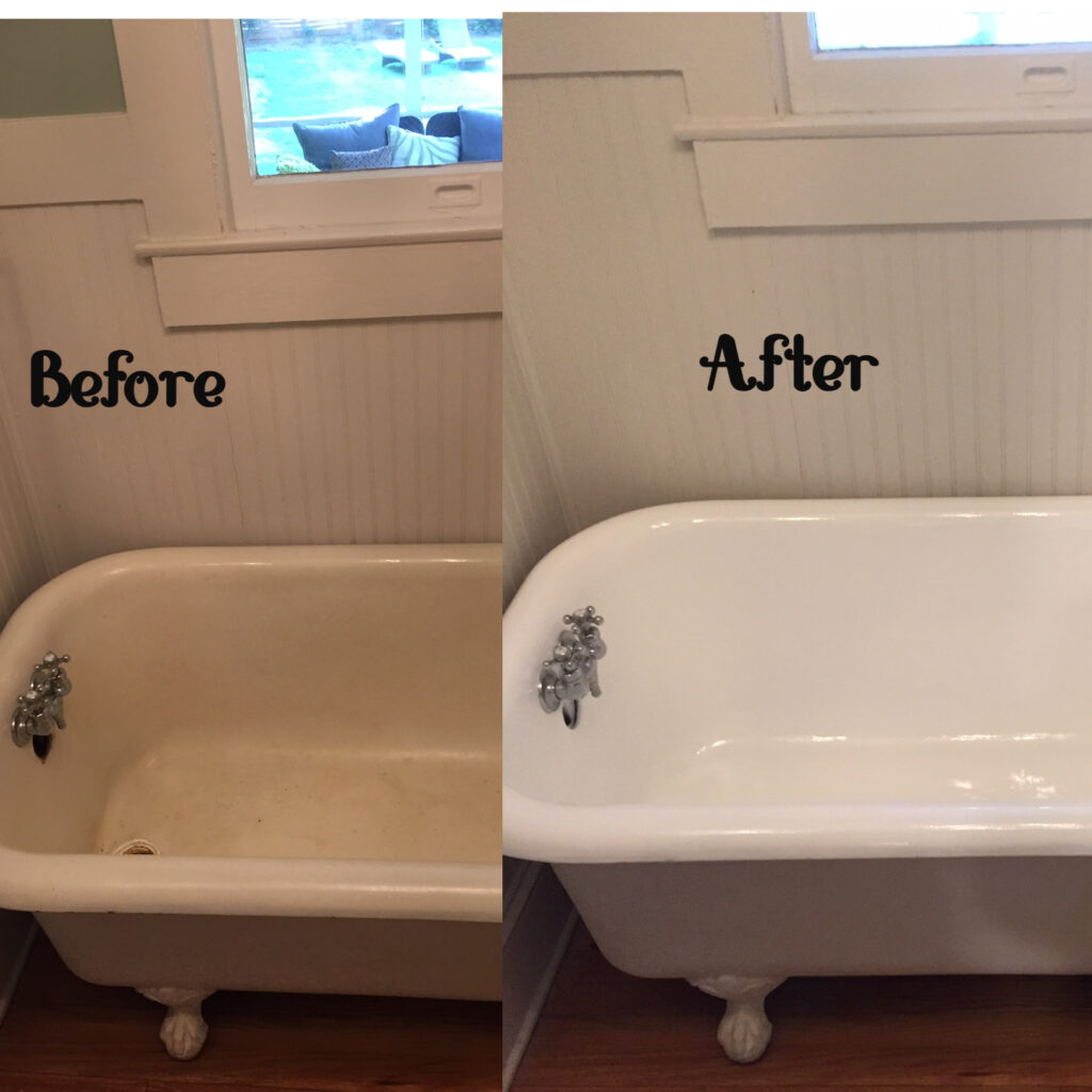 This worn-out, tired-looking old clawfoot tub was in need of a facelift, what a transformation after the resurface!
