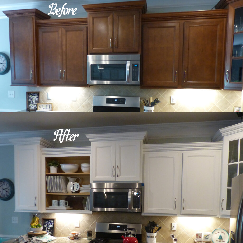 Another beautiful makekover....... kitchen perimeter refinished in a white (with a beige undertone), and island refinished in a green/blue