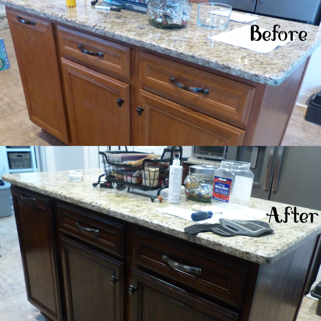 Homeowner  wanted to upgrade to darker cabinets - from the builders grade medium oak color to Provincial - a more stately look and feel