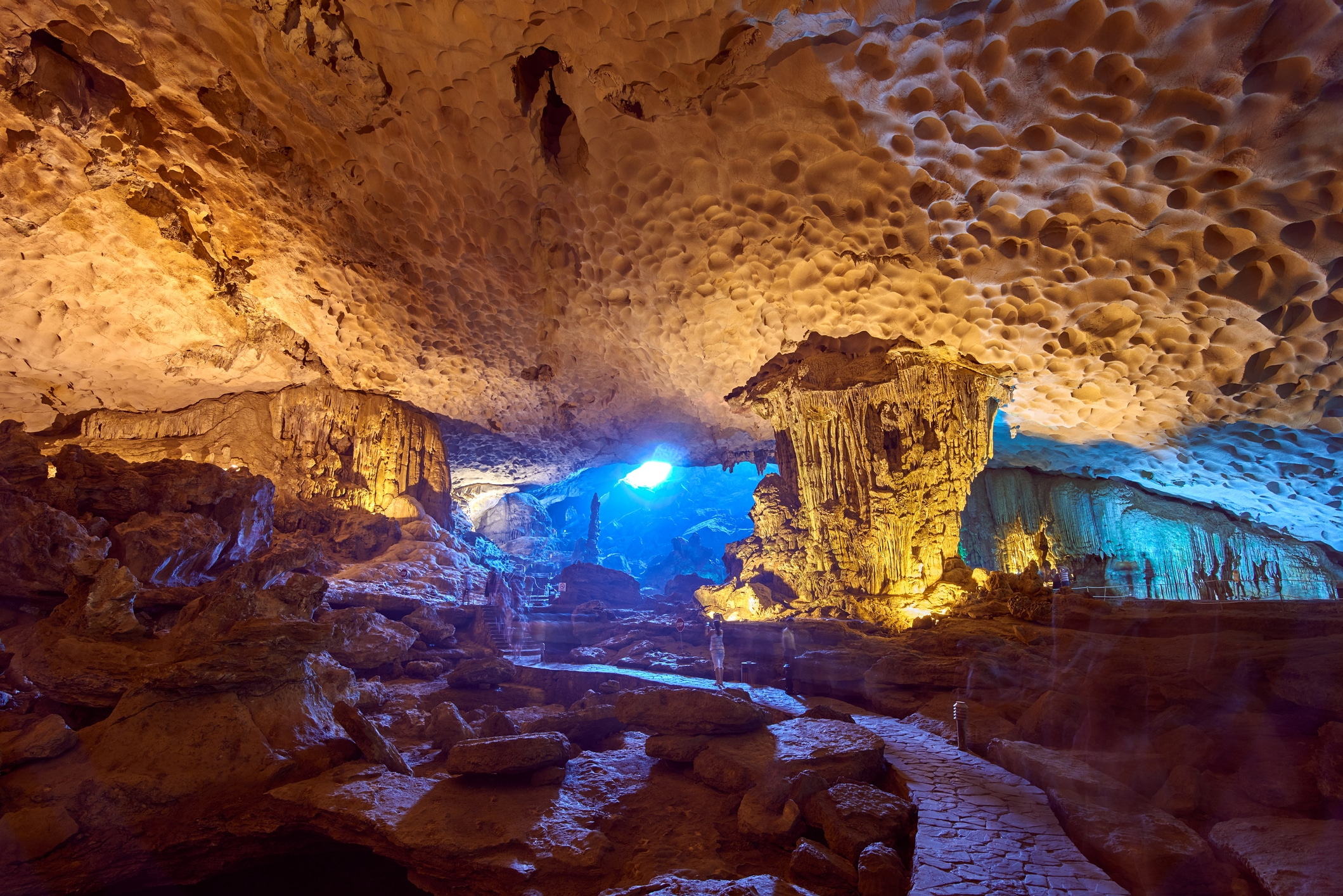 Colorful Stalactite Thien Cung cave, World Heritage site in Halong Bay,Hang Sung Sot Grotto (Cave of Surprises), Vietnam