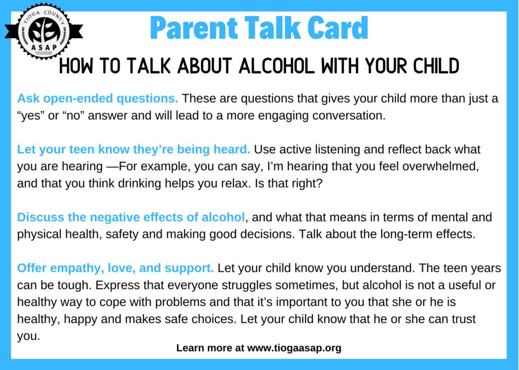 Parent Alcohol Talk Card