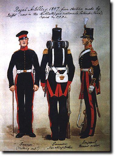 Gunner & Sergeant Uniforms, Royal Artillery 1847