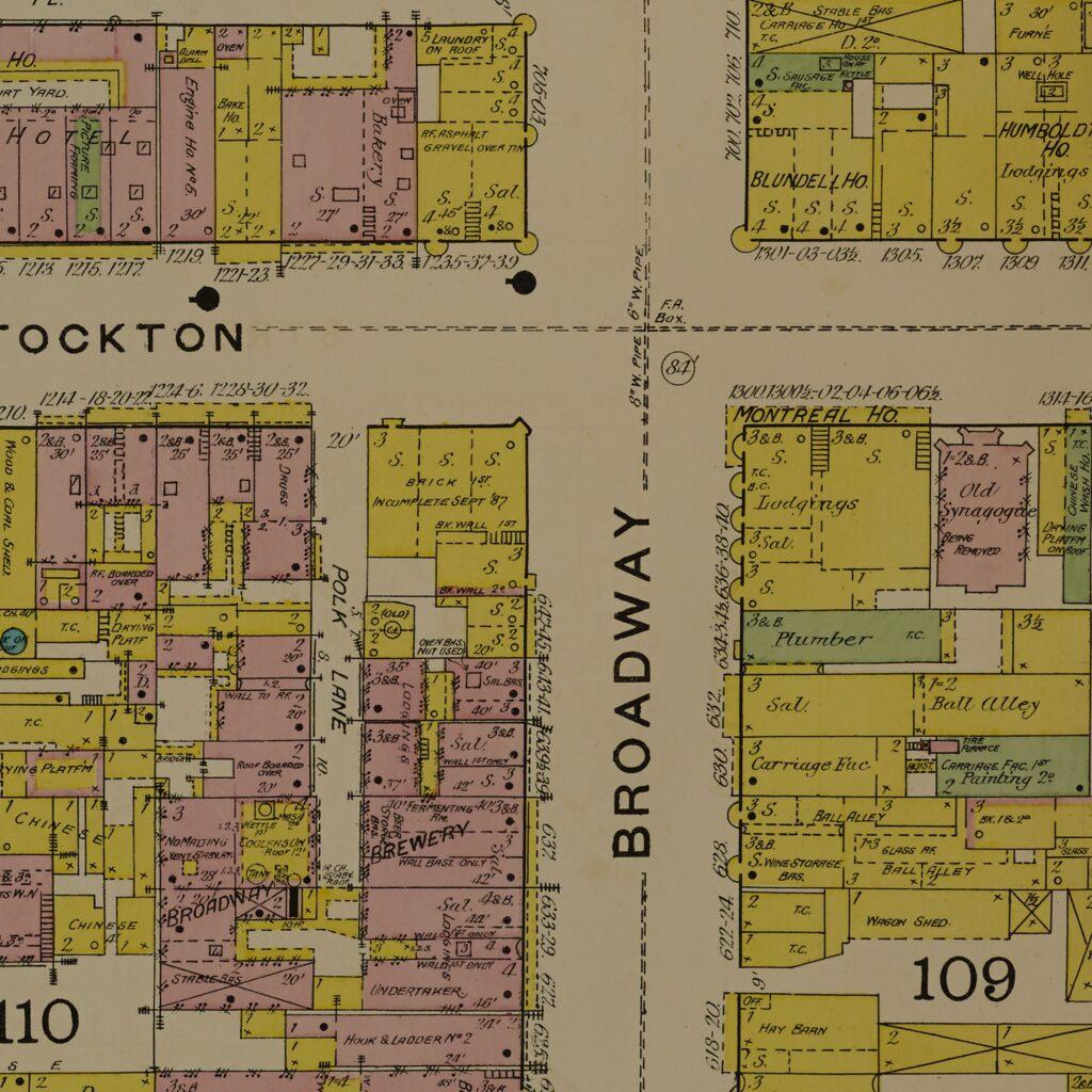 Stockton Ave & Broadway, San Francisco Sanborn Fire Insurance Map from San Francisco, San Francisco County, California. 1887