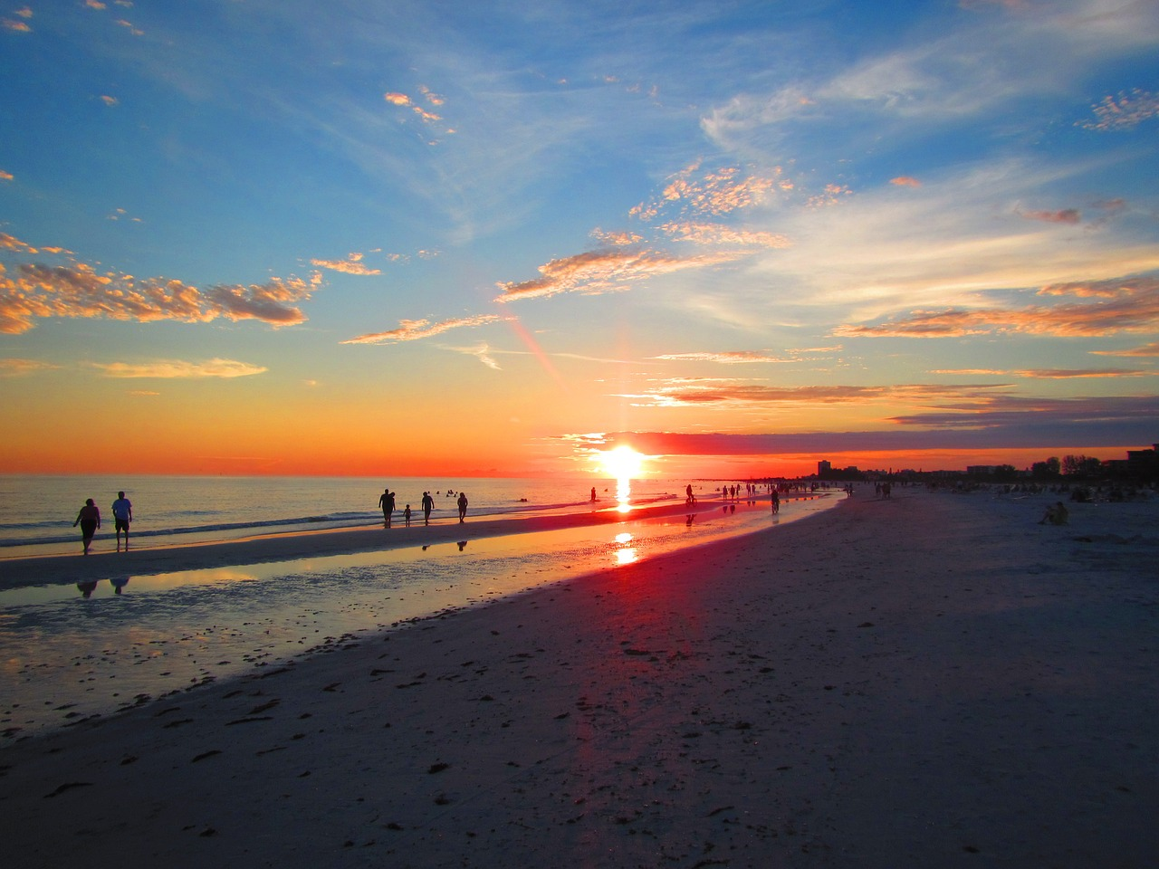 beach, sunset, siesta key