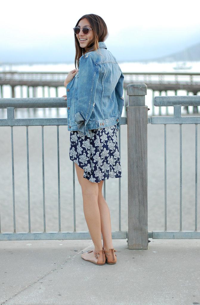 Blue floral dress back