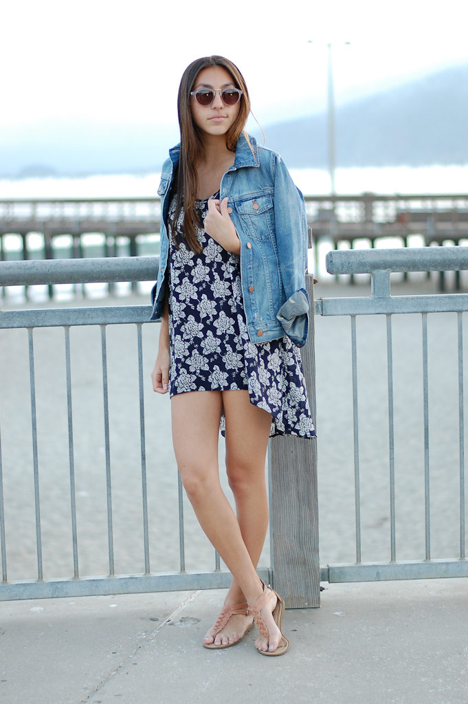 Blue floral dress crossed