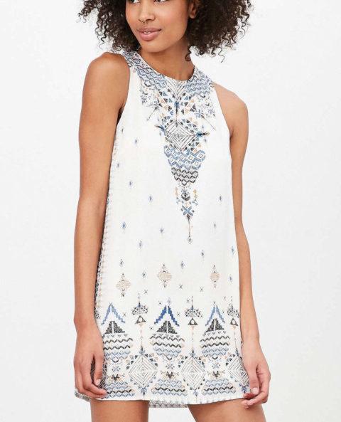 UO White Open Back Frock Dress