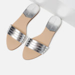 zara silver slides