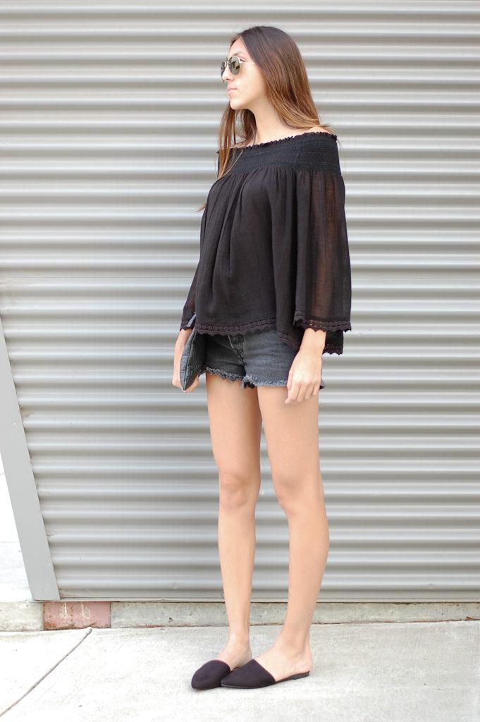Black off the shoulder shorts