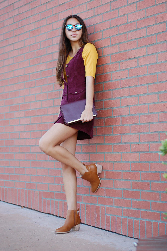 corduroy dress yellow top leg up