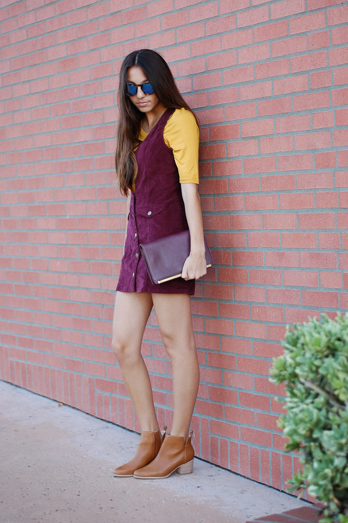 corduroy dress yellow top look down