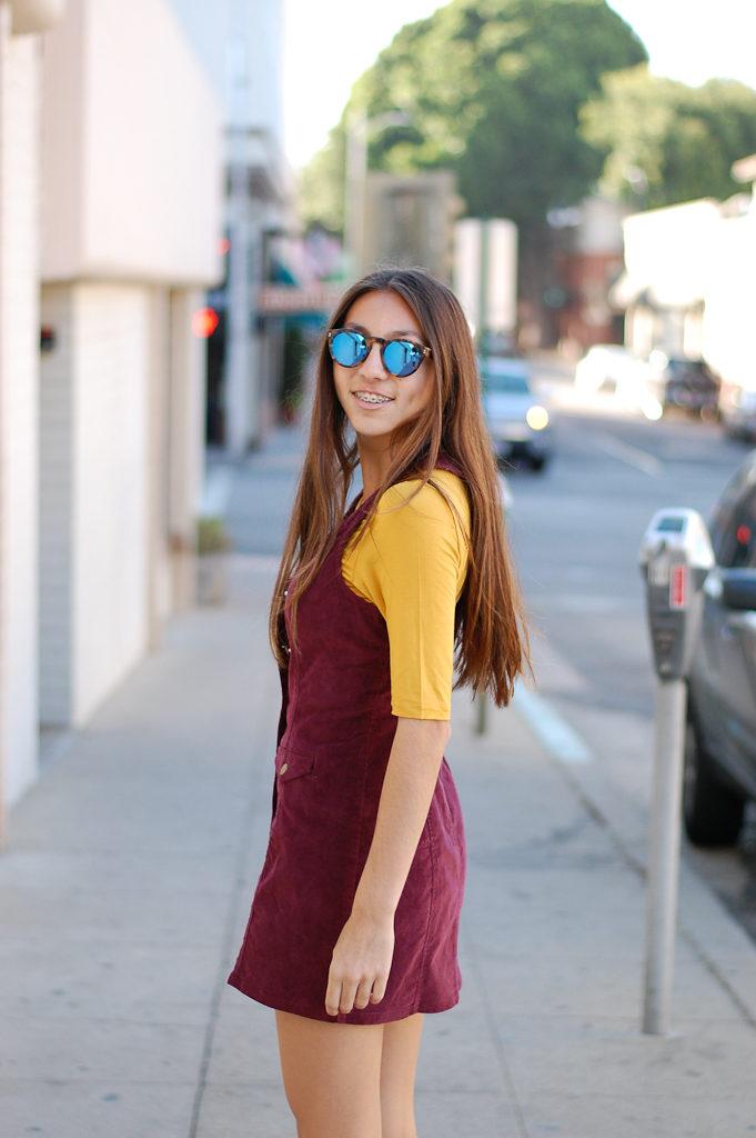 corduroy dress yellow top looking back