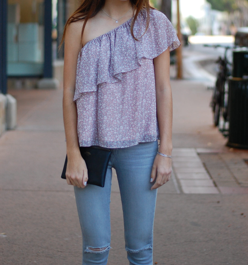 one shoulder gray jeans close