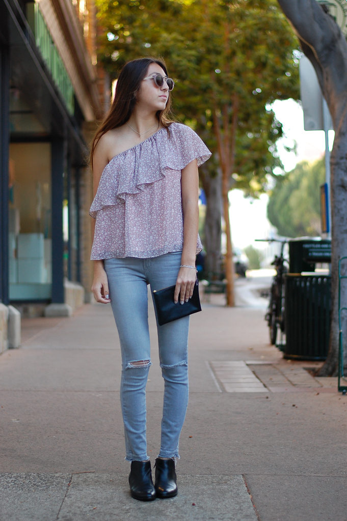 one shoulder gray jeans front