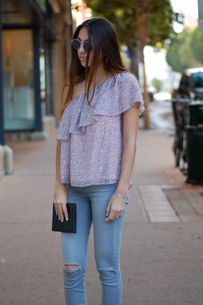 one shoulder gray jeans top
